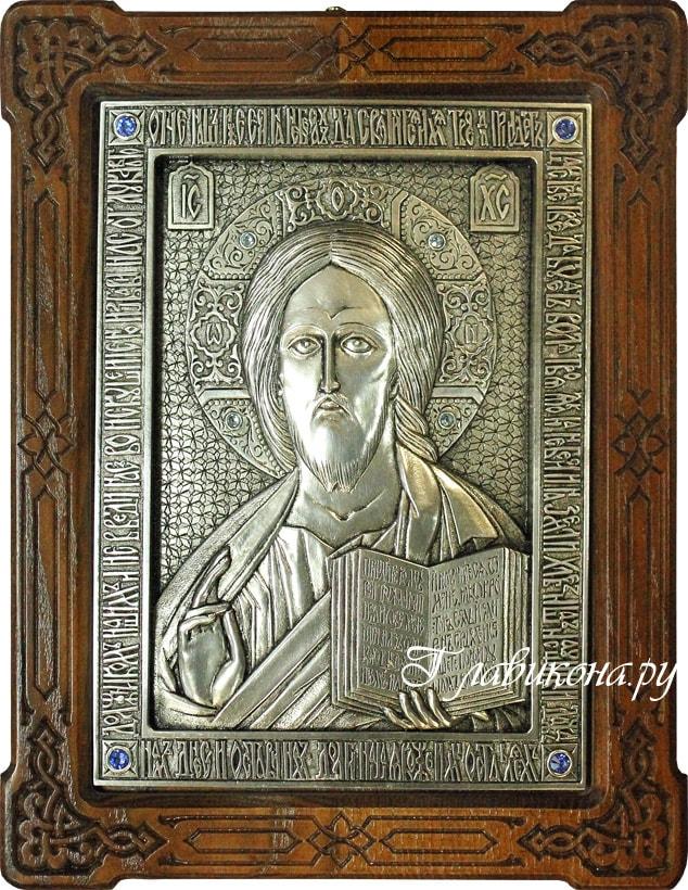 металлическая икона в деревянной рамке