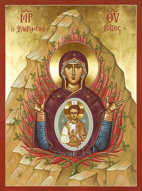 Икона Неопалимая купина, необычная иконография