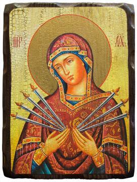 Семистрельная Божия Матерь, икона под старину