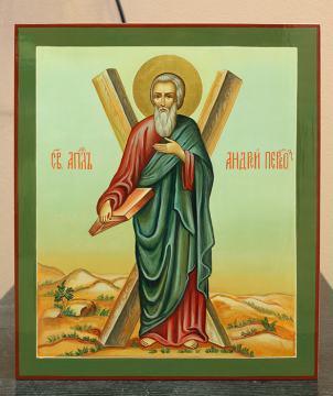 Рукописная икоан Андрея Первозванного (ростовой с крестом)