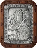 Александр Невский икона из серебра в рамке из дерева артикул 11226