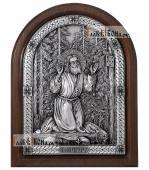 Моление Серафима Саровского на камне, серебряная икона артикул 11216