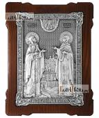 Большая серебряная икона Петра и Февронии артикул 11220