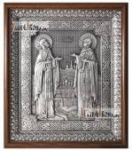 Петр и Феврония серебряная икона в деревянном киоте артикул 11222