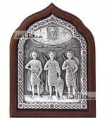 Три святых воина, серебряная икона артикул 11206