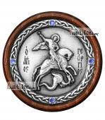 Икона-медальон в машину с образом великомученика Георгия