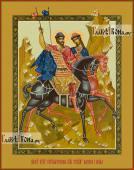 Страстотерпцы Борис и Глеб, печатная икона на дереве