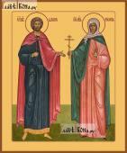 Святые Адриан и Наталия икона печатная на дереве
