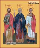 Самон Гурий и Авив мученики печатная на дереве икона