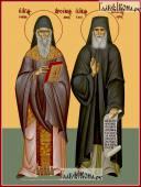Арсений Каппадокийский и Паисий Афонский печатная икона на дереве