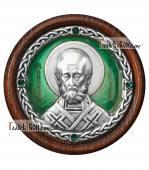 Икона-медальон в машину с образом Николая Чудотворца артикул 13223 - цвет зеленый