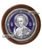 Господь Вседержитель - круглая серебряная икона с эмалью артикул 11197