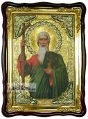 Святой апостол Андрей (поясной), храмовая икона в фигурной рамке, 60х80 см