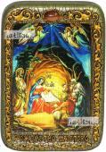 Рождество Христово, икона подарочная в футляре, 10х15 см
