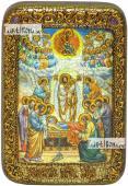 Успение Пресвятой Богородицы икона подарочная в футляре 10х15 см