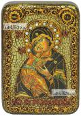 Владимирская Божия Матерь старинный стиль икона подарочная в футляре 10х15 см