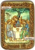 Троица Пресвятая светлый фон икона подарочная в футляре 10х15 см