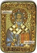 Николай Чудотворец старинный стиль икона подарочная в футляре 10х15 см