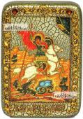 Георгий Победоносец великомученик икона подарочная в футляре 10х15 см