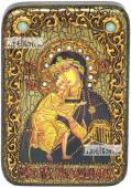 Феодоровская Божия Матерь икона подарочная в футляре 10х15 см