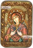 Семистрельная Божия Матерь в живописном стиле икона подарочная в футляре 10х15 см