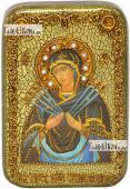 Семистрельная Божия Матерь икона подарочная в футляре 10х15 см