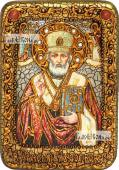 Николай Чудотворец в митре икона подарочная в футляре 10х15 см