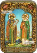 Петр и Феврония Муромские на голубом фоне икона подарочная в футляре 10х15 см