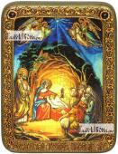Рождество Христово икона подарочная на дубовой доске 15х20 см