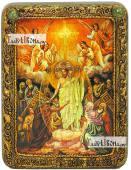 Воскресение Христово икона подарочная на дубовой доске 15х20 см