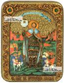 Александр Невский благоверный князь ростовой икона подарочная на дубовой доске 15х20 см