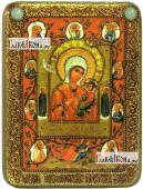 Тихвинская Хлебенная Запечная Божия Матерь икона подарочная на дубовой доске 15х20 см