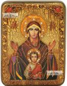 Неупиваемая Чаша Божия Матерь в живописном стиле икона подарочная на дубовой доске 15х20 см