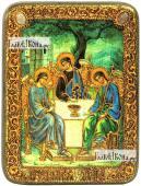 Троица Пресвятая светлый фон икона подарочная на дубовой доске 15х20 см