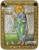 Андрей Первозванный (ростовой), икона подарочная на дубовой доске, 15х20 см