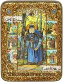Серафим Саровский преподобный с житием икона подарочная на дубовой доске 15х20 см