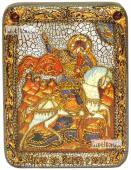 Георгий Победоносец Чудо о змии икона подарочная на дубовой доске 15х20 см