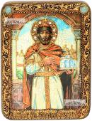 Ярослав Мудрый икона подарочная на дубовой доске 15х20 см