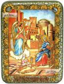 Благовещение Пресвятой Богородицы икона подарочная на дубовой доске 15х20 см