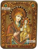 Смоленская Божия Матерь икона подарочная на дубовой доске 15х20 см