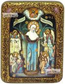 Всех Скорбящих Радость Божия Матерь икона подарочная на дубовой доске 15х20 см