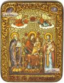 Домостроительница Экономисса Божия Матерь икона подарочная на дубовой доске 15х20 см