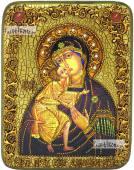 Феодоровская Божия Матерь икона подарочная на дубовой доске 15х20 см