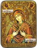 Семистрельная Божия Матерь (в живописном стиле), икона подарочная на дубовой доске, 15х20 см