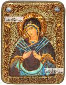 Семистрельная Божия Матерь, икона подарочная на дубовой доске, 15х20 см