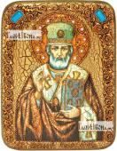 Николай Чудотворец в митре икона подарочная на дубовой доске 15х20 см