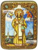 Тихон Задонский икона подарочная на дубовой доске 15х20 см