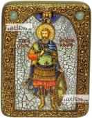 Иоанн Воин, икона подарочная на дубовой доске, 15х20 см
