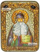 Максим Грек преподобный икона подарочная на дубовой доске 15х20 см
