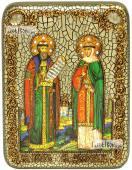 Петр и Феврония на голубом фоне икона подарочная на дубовой доске 15х20 см